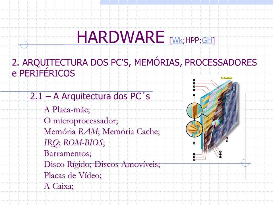 HARDWARE [Wk;HPP;GH] 2. ARQUITECTURA DOS PC'S, MEMÓRIAS, PROCESSADORES e PERIFÉRICOS. 2.1 – A Arquitectura dos PC´s.